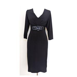 DAVID MEISTER Black Sheath Dress